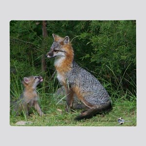 MOTHER RED FOX AND BABY Throw Blanket