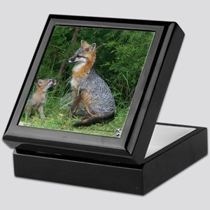 MOTHER RED FOX AND BABY Keepsake Box