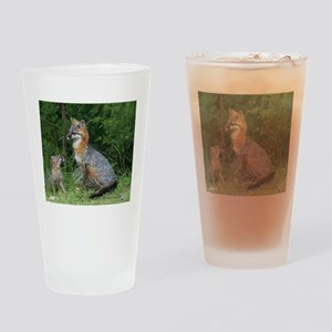 MOTHER RED FOX AND BABY Drinking Glass