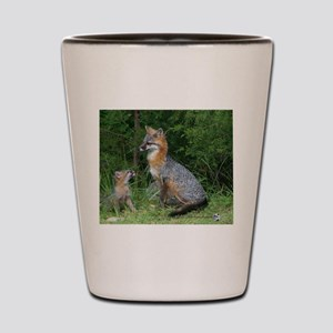 MOTHER RED FOX AND BABY Shot Glass