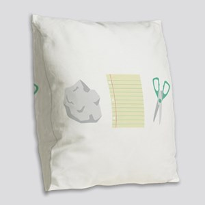Rock Paper Scissors Burlap Throw Pillow