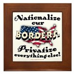Nationalize the Borders Framed Tile