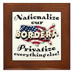 Nationalize the Borders Framed Tile