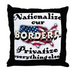 Nationalize the Borders Throw Pillow