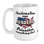 Nationalize the Borders Large Mug