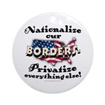 Nationalize the Borders Ornament (Round)