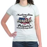 Nationalize the Borders Jr. Ringer T-Shirt