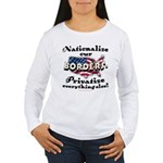 Nationalize the Borders Womens Long Sleeve T-Shirt