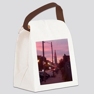 sunset tower Canvas Lunch Bag