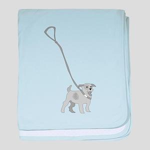 Dog On Leash baby blanket