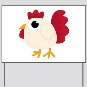 Funny White Chicken Yard Sign