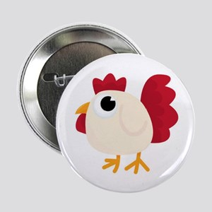 """Funny White Chicken 2.25"""" Button (10 Pack)"""
