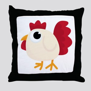 Funny White Chicken Throw Pillow