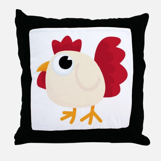 Funny White Chicken Throw Pillow