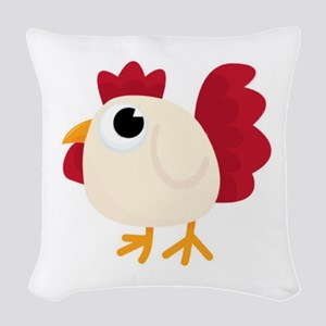 Funny White Chicken Woven Throw Pillow