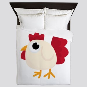 Funny White Chicken Queen Duvet