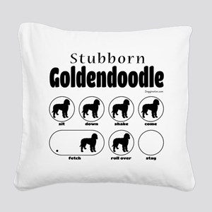 Stubborn Goldendoodle v2 Square Canvas Pillow