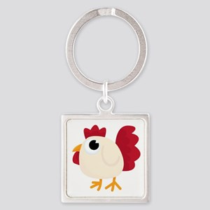 Funny White Chicken Keychains
