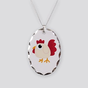 Funny White Chicken Necklace Oval Charm