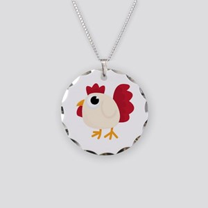 Funny White Chicken Necklace Circle Charm
