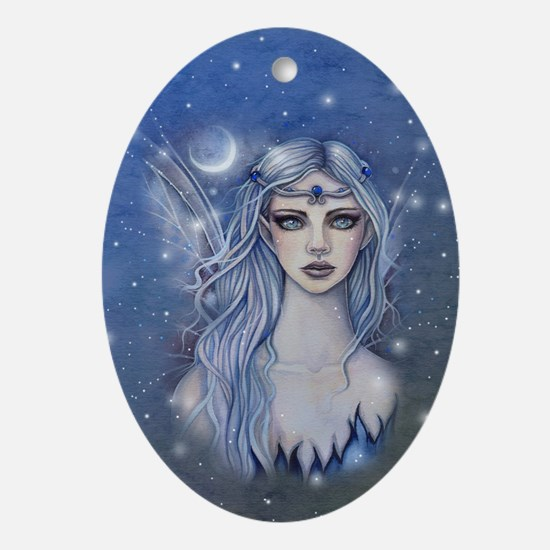 Sapphire Fairy Fantasy Art Ornament (Oval)