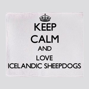 Keep calm and love Icelandic Sheepdo Throw Blanket