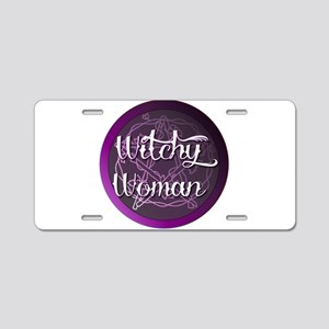 Witchy woman with pentacle Aluminum License Plate