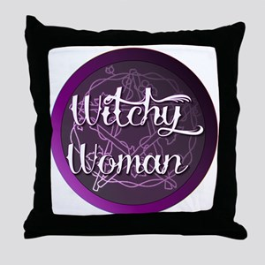 Witchy woman with pentacle Throw Pillow