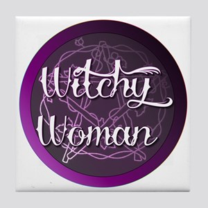 Witchy woman with pentacle Tile Coaster