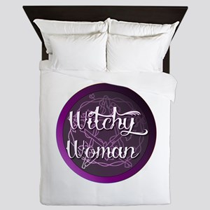 Witchy woman with pentacle Queen Duvet