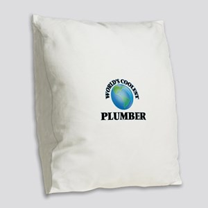 Plumber Burlap Throw Pillow