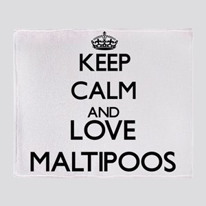 Keep calm and love Maltipoos Throw Blanket
