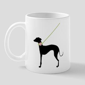 Black Dog w/ Flower Mug