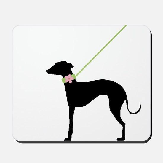 Black Dog w/ Flower Mousepad