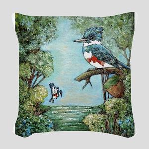 """Kingfisher's Grove"" Woven Throw Pillow"