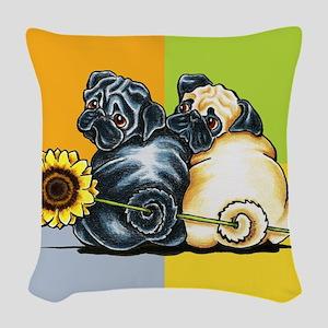 Sunny Pugs Woven Throw Pillow