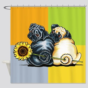 Sunny Pugs Shower Curtain