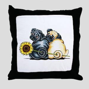 Sunny Pugs Throw Pillow