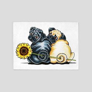 Sunny Pugs 5'x7'Area Rug