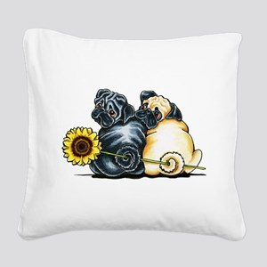 Sunny Pugs Square Canvas Pillow