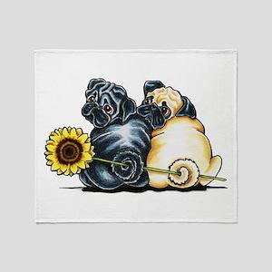 Sunny Pugs Throw Blanket