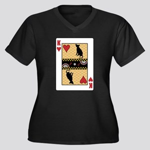 King Havana Women's Plus Size V-Neck Dark T-Shirt