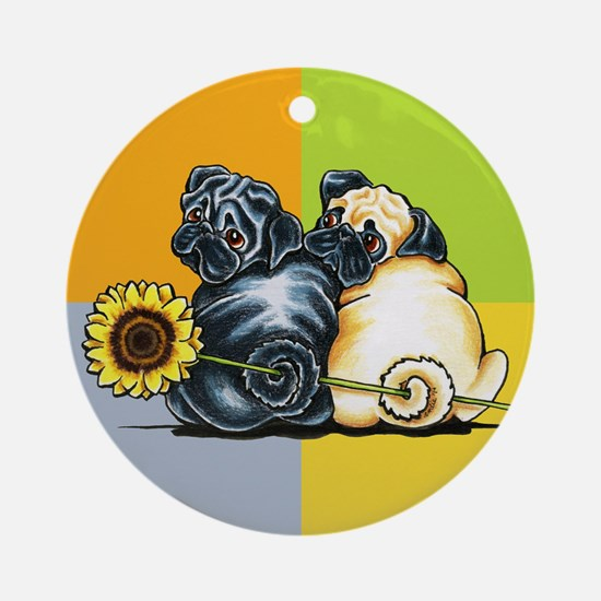 Sunny Pugs Ornament (Round)