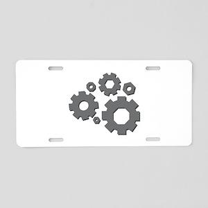 Mechanical Gears Aluminum License Plate