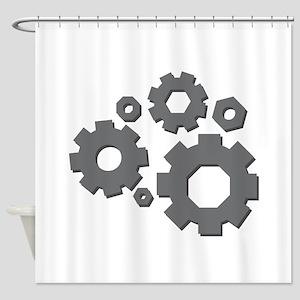 Mechanical Gears Shower Curtain
