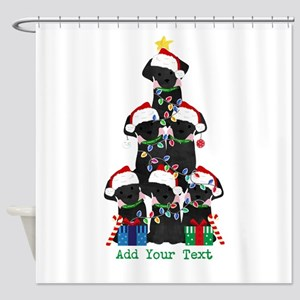 Personalized Lab Puppy Xmas Tree Shower Curtain
