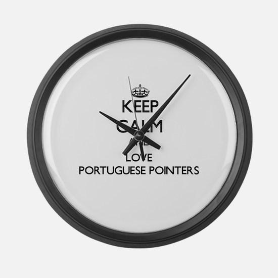 Keep calm and love Portuguese Poi Large Wall Clock