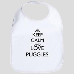 Keep calm and love Puggles Bib