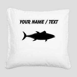 Custom Tuna Fish Silhouette Square Canvas Pillow