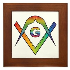 Masonic Rainbow & Eye S&C BBQ Apron Framed Tile